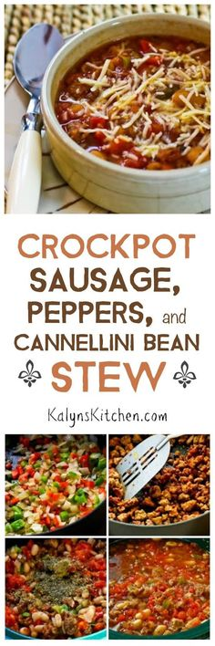 Crockpot Sausage, Peppers, and Cannellini Bean Stew with Parmesan is an easy and delicious slow cooker meal! [found on KalynsKitchen.com]