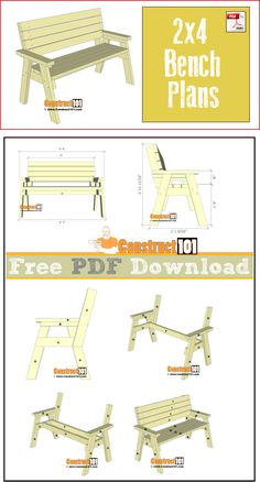2x4 bench plans, free PDF download, step-by-step instructions, and material list.