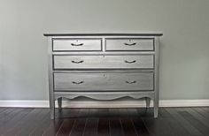 Vintage Silver Metallic Painted Dresser Chest by UptownHeirloomCo, $550.00