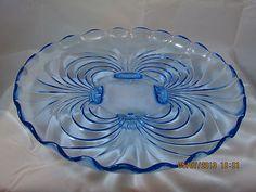 Cambridge Caprice Moonlight Blue 13 Platter Elegant Depression Glass | eBay Antique Dishes, Vintage Dishes, Antique Glass, Vintage Glassware, Vintage Items, Cut Glass, Glass Art, Fenton Glass, Carnival Glass