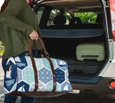 Waterproof Fabric, Travel Bags, Shoulder Strap, Vibrant, Traveling, Blue, Printed, Navy, Accessories