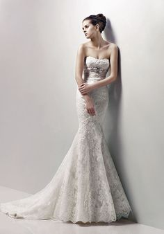 i just died a little inside... Mermaid Strapless Floor Length Attached Lace Beading Wedding Dress Style Champagne