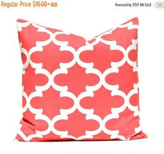 15% Sale Coral Pillow Decorative Pillow Throw by CompanyTwentySix