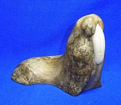 Vintage German Marble Carved Walrus Figure / Figurine #A