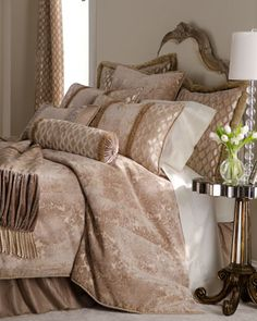"Dian Austin Couture Home ""Palazzo"" Bed Linens - Horchow Bed Sheets Online, Cheap Bed Sheets, Palazzo, Linen Bedding, Bedding Sets, Bed Linens, Bedroom Bed, Bedroom Decor, Linens And More"