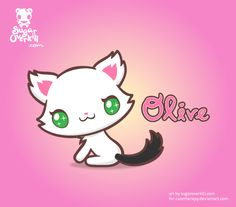 Olive the Kitty in Kawaii Chibi style. This illustration is based on a real pet. Commissioned by www.cutetherapy.deviantart.com
