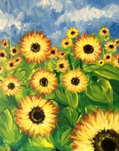 We host painting events at local bars. Come join us for a Paint Nite Party! Sunflower Canvas Paintings, Easy Canvas Painting, Spring Painting, Easy Paintings, Diy Canvas, Canvas Art, Paint And Drink, Sunflower Art, Simple Art