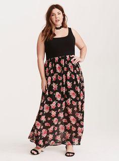 Floral Chiffon Skirt Knit Top Maxi Dress / Plus Size Clothing / TORRID