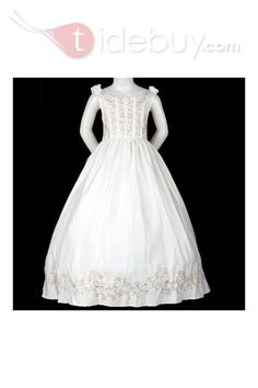 Lovely Ball Gown Scoop Floor-length Tiered Embroidery Flower Girl Dress