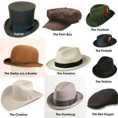 Hat Styles- Men andWomen. Great list of hat names and descriptions.