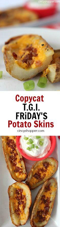 Copycat TGI Friday's Potato Skins Recipe Potatoe Skins Recipe, Potato Skins, I Love Food, Good Food, Yummy Food, Great Recipes, Favorite Recipes, Potato Dishes, Potato Recipes