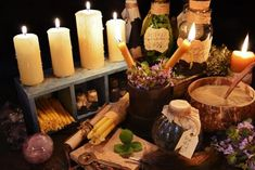 Alternative medicine 3 Photos Witch table with burning candles, magic objects and healing herbs. Halloween or alternative medicine by Samiramay Bring Back Lost Lover, Lost Love Spells, Love Spell Caster, Witch Spell, Candle Magic, Meteor Shower, Magic Spells, Healing Herbs, Winter Solstice