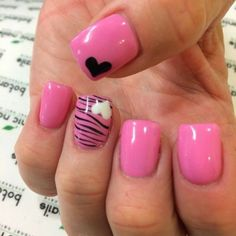pink with black leopard print, white and black hearts nail art design