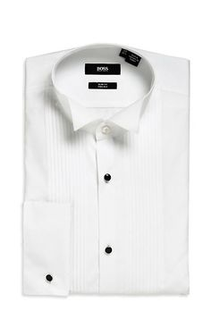 Slim Fit French Cuff 'Illian' Tuxedo Shirt, White