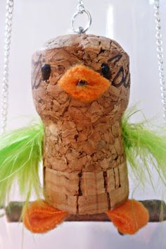 DIY little bird cork ornament tutorial, I see a wine drinking/ ornament making party in my future!