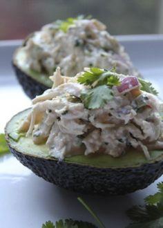 cilantro lime chicken salad in avocado