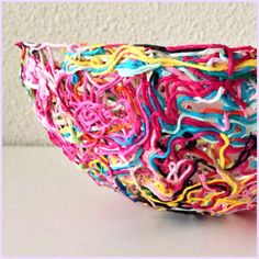 Make a bowl from your yarn bits and ends!  What a great idea!