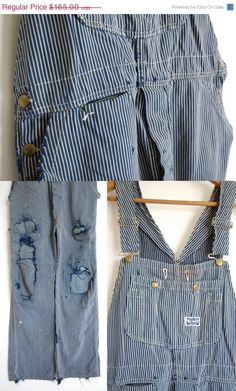 712f0ee921 antique Sanforized bib and brace overalls   Big Smith 30s 40s old  distressed weathered   hickory stripe denim jeans dungarees osfm