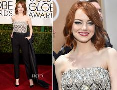 emma stone golden globes 2015 | Emma Stone In Lanvin - 2015 Golden Globe Awards - Red Carpet Fashion ...