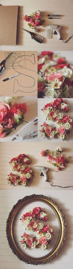 DIY framed floral letter                                                                                                                                                                                 More