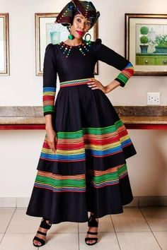 A beautiful modern xhosa attire. South African Traditional Dresses, Traditional Dresses Designs, Traditional Outfits, African Inspired Fashion, Latest African Fashion Dresses, African Print Fashion, Ankara Fashion, Africa Fashion, Latest Fashion
