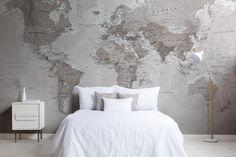 Neutral Color World Map Wallpaper Mural   Hovia