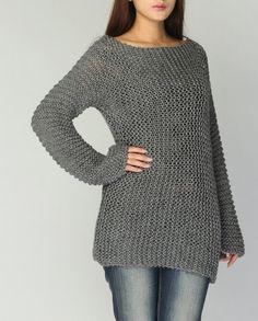 Hand-stricken Pullover Eco Baumwolle lange Pullover in