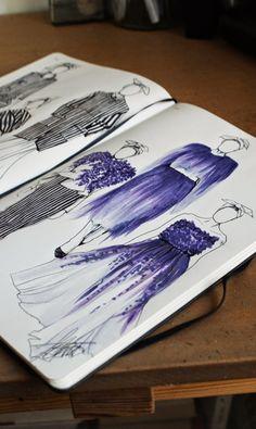 Jazmine Cant Illustrations: Giambattista Valli Fall 2014 Couture - From Parts Unknown Textiles Sketchbook, Fashion Sketchbook, Fashion Design Portfolio, Fashion Design Drawings, Fashion Illustration Sketches, Fashion Sketches, Copics, Designs To Draw, Drawing Designs