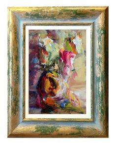 Italian art Flowers abstract n57 materic oil painting di Modiarte