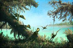 Dimorphodon lagoon. Great spot for a holiday! #Paleoart #Pterosaurs #Dimorphodon