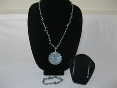 Mother of Pearl Pendant on a  blue pearl and crystal necklace, matching set #MDJewelCraft