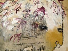 Magenta Leaves Original Forest Beast Monster by benconservato (Art & Collectibles, Prints, Etchings & Engravings, mixed media, series, french, abtract, golden, chimera, furry, imaginary monster, leaves, masculine, magenta, dirty, wild beast)