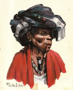 An Artful representation of a Xhosa woman smoking a Xhosa traditional pipe