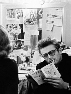 James Dean looks smouldering even with turquoise frame eyeglasses covering his beautiful eyes.