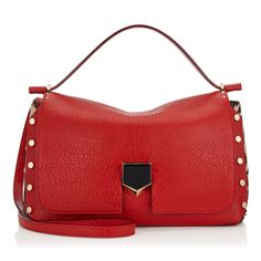 The Jimmy Choo red grainy leather LOCKETT M handbag