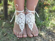 bridal anklet Beach wedding barefoot sandals by JasmneAccessores