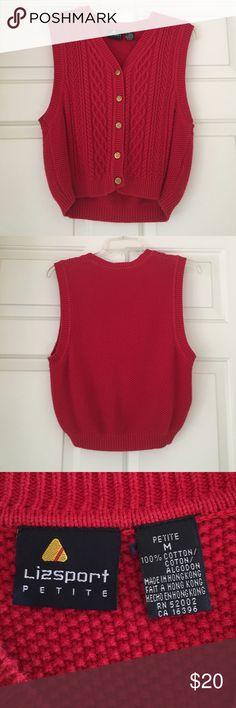 Vintage Red Sweater Vest Vintage red sweater vest from Lizsport Petite. Size petite medium- fits like a regular small. Original button detailing. Lizsport Jackets & Coats Vests