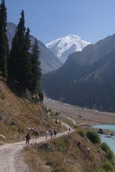 Walking in the Tian Shan mountains, Kazakhstan