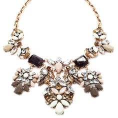 Lotus Bib Statement necklace with green/brown/ivory color hues. Sparkle Chest Jewelry Necklaces