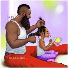 Father and Daughter Black Art Black Girl Art, Black Girl Magic, Black Couple Art, Natural Hair Art, Natural Hair Styles, Ladies Day, Afrique Art, Black Art Pictures, Art Africain