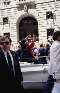 Vintage 1991, Colin Powell arrives at the Gulf War Ticker Tape Parade, NYC.