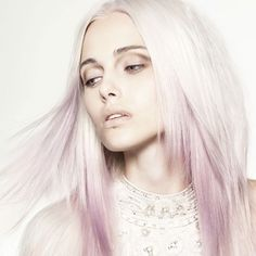 Or this colour | Umbre platinum blonde with pastel violet ends hairstyle