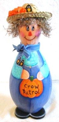 Halloween Crafts Scarecrow Blue Overalls Teal Shirt Straw Hat. $15.00, via Etsy.