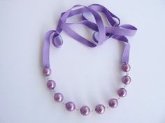 Silver pearls and ribbon necklace by MagdaCrafts on Etsy, £20.00
