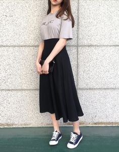 Get your Korean fashion clothes from mixxmix English website. International shipping is available for the latest and trendy Korean fashion style. Long Skirt Fashion, Long Skirt Outfits, Modest Outfits, Modest Fashion, Dress Outfits, Fashion Dresses, Long Skirt Style, Long Black Skirt Outfit, Black Midi Skirt