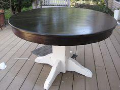 Minwax Ebony mixed with Dark Walnut. Fabulously Flawed: Refinished dining table