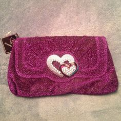 Evening Bag--Purple Comes in 4 colors: purple (shown in first pic), fuschia, gold and black(available to purchase in other listings) Great evening bag that can be used for a wedding or out with the girls. Plenty of room for your phone, keys and anything else u need to bring with you. Comes with a short handle and also a longer shoulder chain. Brand new, just pulled out of package to take pictures. Bags Clutches & Wristlets