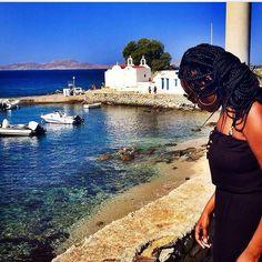 Mykonos blues in #Greece with @chocolategoddesstravels. Travel Well #TravelFly! :::::::::::::::::::::::::::::: #PassportLife #BlackGirlsTravel #PassportReady #Travel #BrownGirlsTravel #DoYouTravel #Wanderlust #Fernweh #TravelTheWorld #TravelOn #BlackTravelers #TravelAddict #TravelJunkie #TasteInTravel #LadiesGoneGlobal #LuxeTravel #WellTraveled #InspireToTravel #TravelLife #TravelGram #TravelBetter #IGTravel #WeTravel #Explore #PassionPassport #JetSetting