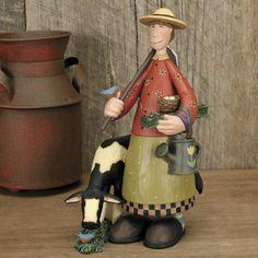 Lady Gardner with Cow Figurine - Everyday Folk Art Figurines & Collectibles – Williraye Studio $45.00