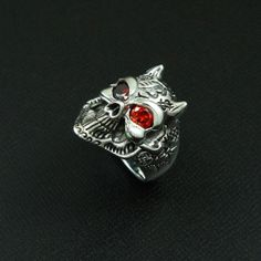 RED EYE TATTOO DEVIL 925 STERLING SILVER US Size 10 BIKER ROCKER GOTHIC RING #Handmade